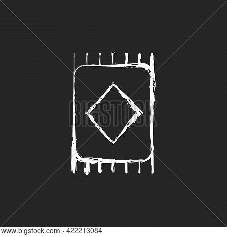 Carpet Chalk White Icon On Dark Background. Floor Tiles. Bedroom Rug. Interior Decoration. Textile P