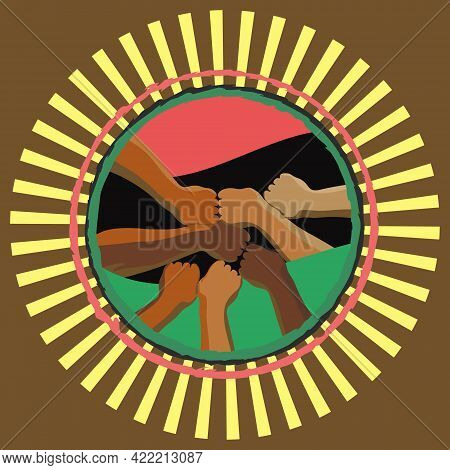 Illustration Of Black Hands. Pan-african Flag. Freedom Day Celebration. June Freedom Day