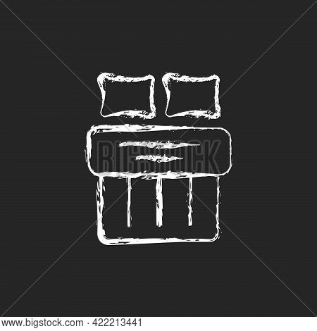 Double Bed Set Chalk White Icon On Dark Background. Hotel Room For Night Rest. King Size Linen Beddi