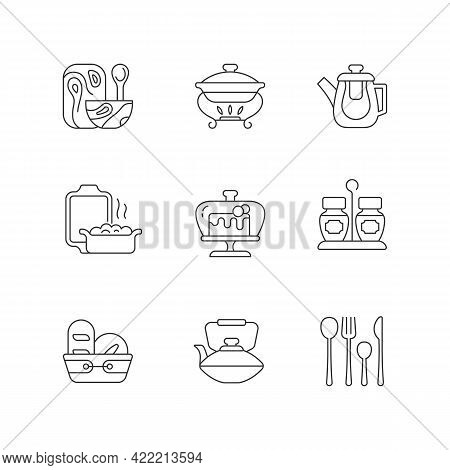 Trendy Tableware Linear Icons Set. Specially Designed Kitchenware. Forks, Knives And Spoons For Dinn