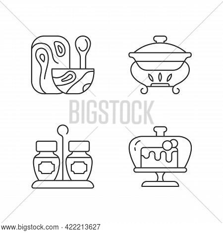 Modern Tableware Linear Icons Set. Wooden Tableware For Kitchen. Warming Tray For Meal. Chafing Dish