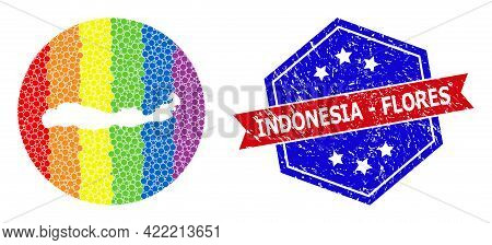 Dotted Spectral Map Of Indonesia - Flores Island Mosaic Created With Circle And Hole, And Scratched