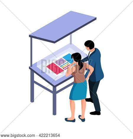 Isometric Polygraphy Icon With Two People Looking At Printer Layout 3d Vector Illustration