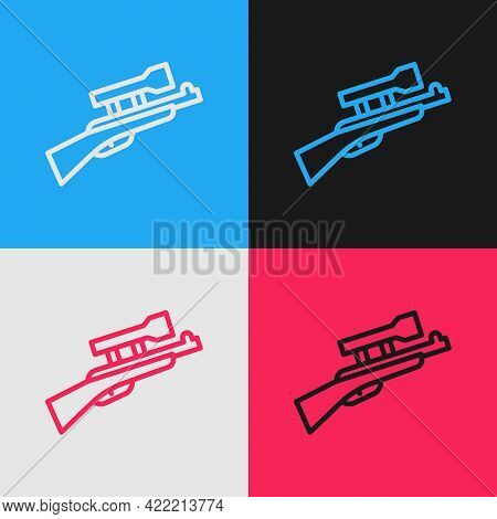 Pop Art Line Sniper Rifle With Scope Icon Isolated On Color Background. Vector