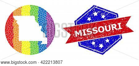 Pixelated Spectrum Map Of Missouri State Mosaic Created With Circle And Stencil, And Textured Stamp.