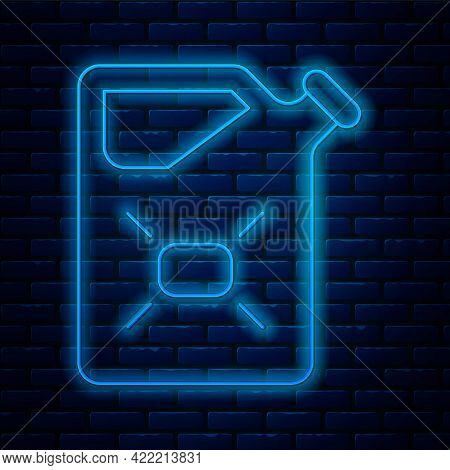 Glowing Neon Line Canister For Flammable Liquids Icon Isolated On Brick Wall Background. Oil Or Biof