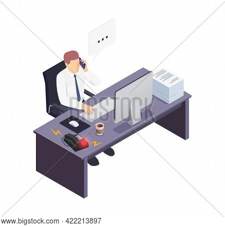 Isometric Icon With Busy Office Worker Talking On Phone 3d Vector Illustration