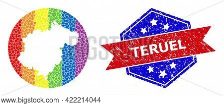 Pixel Spectrum Map Of Teruel Province Mosaic Composed With Circle And Stencil, And Grunge Seal Stamp