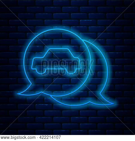 Glowing Neon Line Car Service Icon Isolated On Brick Wall Background. Auto Mechanic Service. Repair