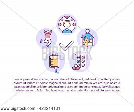 Patient Stabilization Concept Line Icons With Text. Ppt Page Vector Template With Copy Space. Brochu