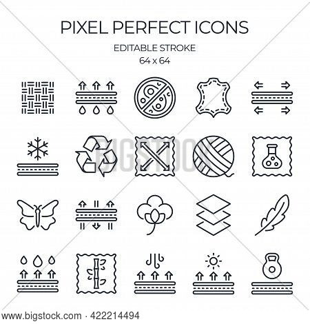 Fabric Features Related Editable Stroke Outline Icons Set Isolated On White Background Flat Vector I