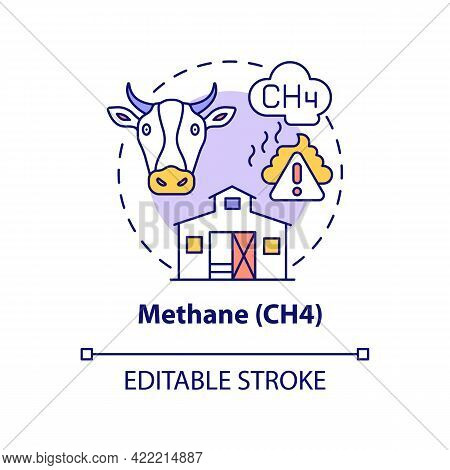 Methane Concept Icon. Ch4 Abstract Idea Thin Line Illustration. Greenhouse Effect Contribution. Natu