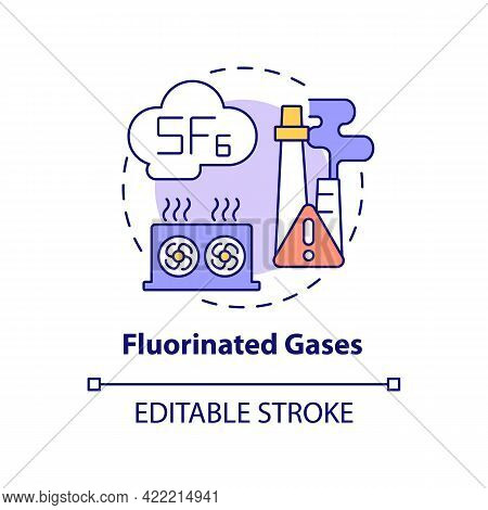 Fluorinated Gases Concept Icon. Greenhouse Gases Type Abstract Idea Thin Line Illustration. Ozone-de
