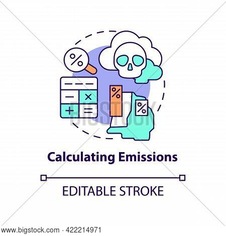 Calculating Emissions Concept Icon. Carbon Offsetting Abstract Idea Thin Line Illustration. Carbon F