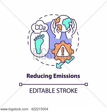 Reducing Emissions Concept Icon. Carbon Offsetting Step Abstract Idea Thin Line Illustration. Energy