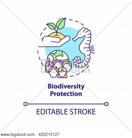 Biodiversity Protection Concept Icon. Carbon Offsetting Abstract Idea Thin Line Illustration. Health