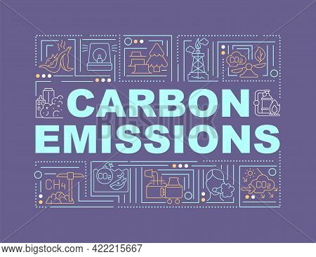 Carbon Emissions Word Concepts Banner. Co2 Release. Negative Side Effect. Infographics With Linear I