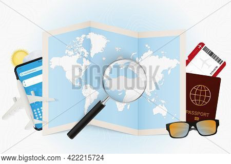 Travel Destination Turkey, Tourism Mockup With Travel Equipment And World Map With Magnifying Glass