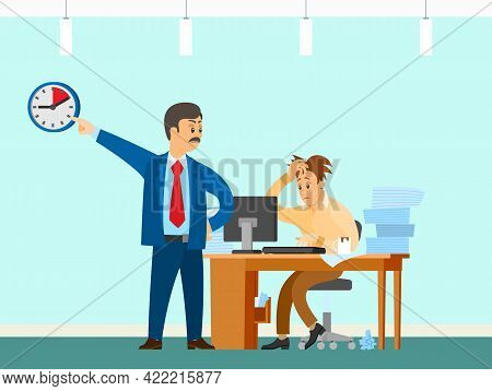Male Character Working At Computer And Doing Paperwork To Finish Task. Boss Urges Employee To Comple