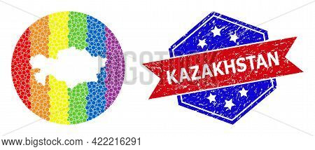 Dotted Bright Spectral Map Of Kazakhstan Collage Created With Circle And Subtracted Space, And Scrat
