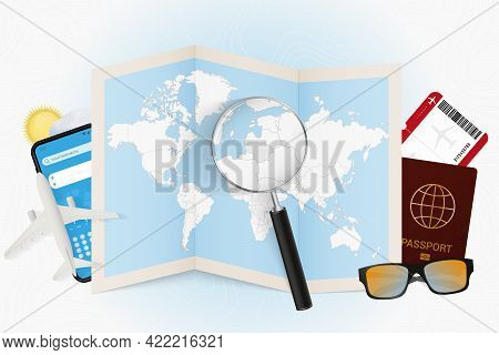 Travel Destination Lithuania, Tourism Mockup With Travel Equipment And World Map With Magnifying Gla