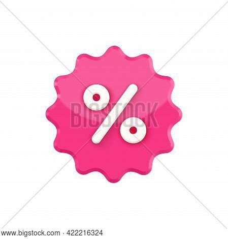 Notched Stamp 3d With Percent Vector Icon. Pink Label Blot With White Discount Special.