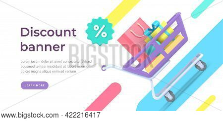 Clearance Sale Vector Landing Page Banner. Marketing Promotions With Filled Shopping Carts Retail Pu