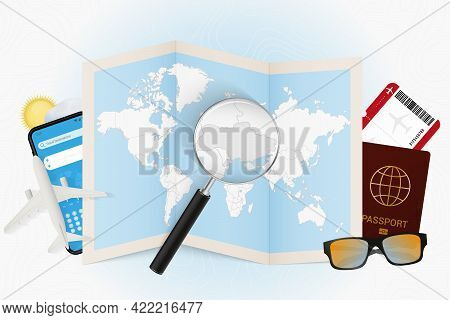 Travel Destination Ukraine, Tourism Mockup With Travel Equipment And World Map With Magnifying Glass