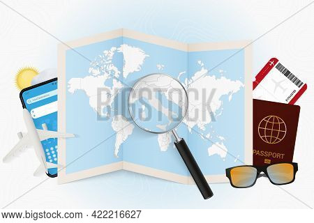 Travel Destination Italy, Tourism Mockup With Travel Equipment And World Map With Magnifying Glass O