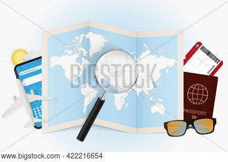 Travel Destination Hungary, Tourism Mockup With Travel Equipment And World Map With Magnifying Glass