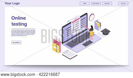 Online Testing Webpage Vector Template With Isometric Illustration. Student Testing, Education Websi