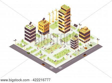 Eco City Isometric Color Vector Illustration. Eco Friendly Buildings With Solar Grids And Trees Info