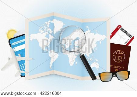 Travel Destination Norway, Tourism Mockup With Travel Equipment And World Map With Magnifying Glass