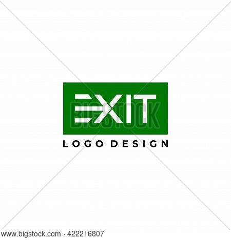 Wordmark Logo About Writing Exit And Out Arrow. Eps10, Vector.