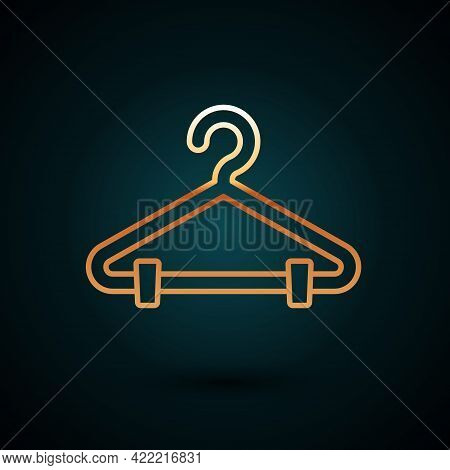 Gold Line Hanger Wardrobe Icon Isolated On Dark Blue Background. Cloakroom Icon. Clothes Service Sym