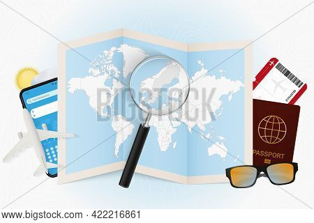 Travel Destination Sweden, Tourism Mockup With Travel Equipment And World Map With Magnifying Glass