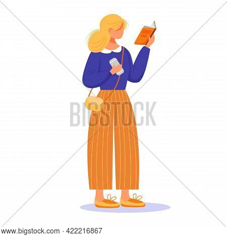 Girl Reading Book Flat Vector Illustration. Blond Lady Passionate By Publication. Young Caucasian Wo