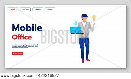 Mobile Office Landing Page Vector Template. Financial Analysis Website Interface Idea With Flat Illu
