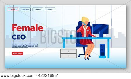 Female Ceo Landing Page Vector Template. Female Entrepreneurship Website Interface Idea With Flat Il