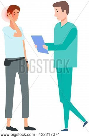Man With Pain In Ear In Consultation With Doctor. Medical Specialist Consults Patient With Earache.
