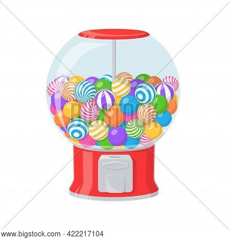 Gumball Machine, Red Dispenser With Striped Bubble Gums. Vector Cartoon Illustration Of Vending Mach