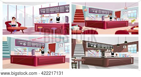 Cafe Interior Flat Vector Illustrations Set. Coffeehouse Visitor And Barista At Work Cartoon Charact