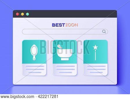 Set Magic Mortar And Pestle, Magic Hand Mirror And Magic Wand Icon. Vector