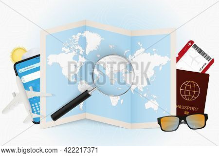 Travel Destination Greece, Tourism Mockup With Travel Equipment And World Map With Magnifying Glass