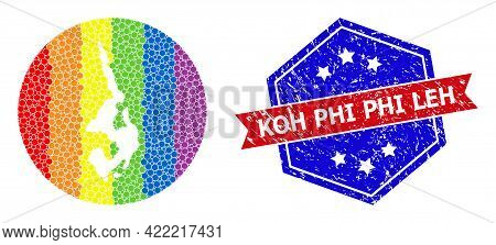 Pixel Rainbow Gradiented Map Of Koh Phi Leh Mosaic Designed With Circle And Carved Shape, And Scratc