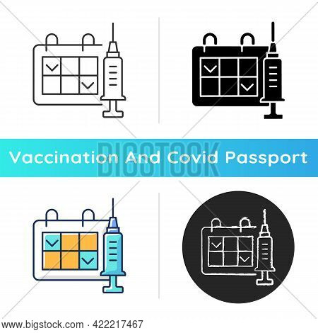 Two Dose Vaccination Icon. Schedule For Drug Injection. 2 Doze Vaccine Schedule. Hospital Appointmen