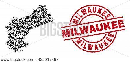 Milwaukee Distress Seal Stamp, And Tarragona Province Map Mosaic Of Airliner Items. Mosaic Tarragona