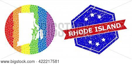 Dotted Rainbow Gradiented Map Of Rhode Island State Collage Formed With Circle And Subtracted Space,