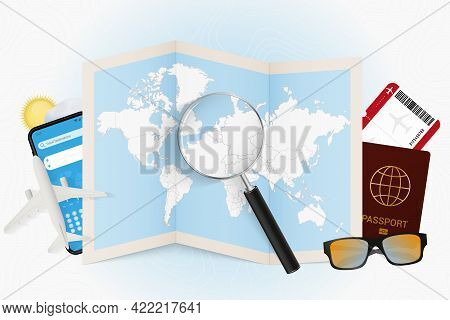 Travel Destination Luxembourg, Tourism Mockup With Travel Equipment And World Map With Magnifying Gl