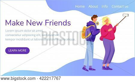 Make New Friends Landing Page Vector Template. Taking Selfie Website Interface Idea With Flat Illust
